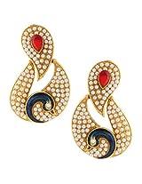 Maroon Colour stones with peacock antique golden India ADIVA pearl stud earringABEA0349MA