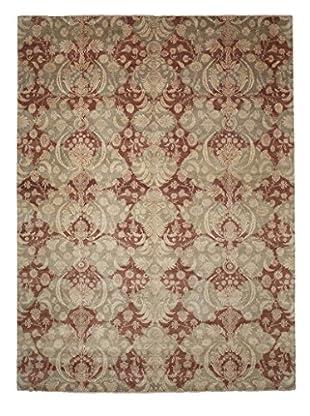Darya Rugs Ikat Oriental Rug, Dark Khaki/Maroon, 9' 2