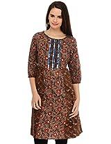 Aana Women's Cotton Regular Fit Kurti (ASKA065F045ABR, Brown, XL)
