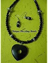 Unique Dazzling Beads Black Sandstone Necklace