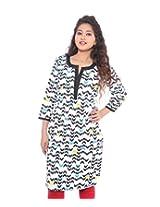 Lal Chhadi Women's 3/4 Sleeve Cotton Round Neck Kurta