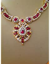 Bollywood Kundan Red White Combo Diamond Necklace
