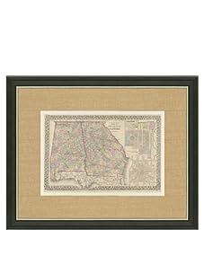 "Mitchell-Antique Map of Georgia & Alabama, 1860's-1870's, 21"" x 23"""