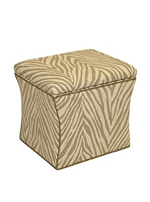 Skyline Brass Nail Button Storage Ottoman, Camel