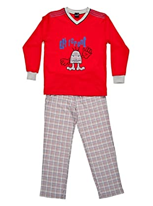 Basket Pijama Cuello Pico Bordado (Rojo)