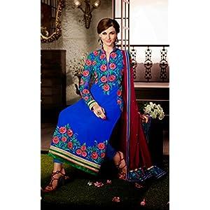 Ethnic Fire Resham Embroidery Lehenga Saree - Blue