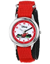 Disney Kids' W000095 Cars Stainless Steel Time Teacher Watch with Red Band