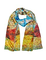 Wrapables Luxurious 100% Charmeuse Silk Long Scarf with Hand Rolled Edges, Van Gogh's Peach Tree in Bloom