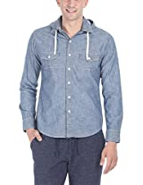 Zobello Men's Detatachable Quilt Hooded Denim Shirt(11075A_Light Wash Slub Denim Blue_XX-Large)