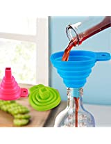 Silicone Collapsible Funnel Mini Filling Liquid Oil Water Funnel Kitchen Tool(Color:Bule) (1 PC)