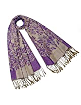 Dahlia Women's Scarf Shawl - Reversible Blooming Floral Garden - Purple