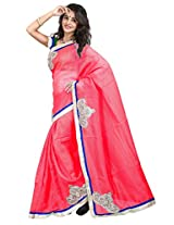 7 Colors Lifestyle Pink Coloured Super Net Embroidered Saree