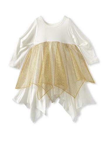 Ivy & Olivia Girl's Olivia Dress with Gold Mesh (Ivory/Gold)