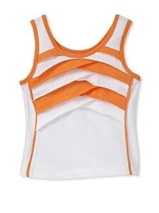 Beetlejuice London Girl's Buttercream Criss Cross Orange Striped Tank Top (White)