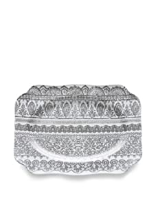 Rosanna Venetian Lace Rectangular Tray, White/Grey