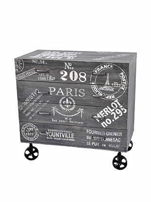 Paris Chest of Drawers, Gray/White/Black