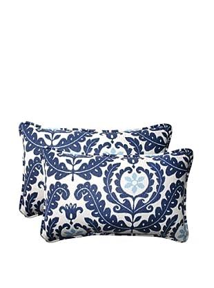 Set of 2 Outdoor Meridian Pool Rectangle Corded Toss Pillows (Navy/Aqua/Cream)