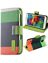 JKase PU Leather Wallet Type Magnet Design Flip Case Cover with Credit Card Holder For Samsung Galaxy S5 -Green/Dark Green
