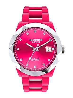 K&BROS 9555-2 / Reloj de Señora  con correa de caucho fucsia
