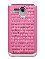 Alcatel One Touch Fierce XL Case, Pink on White Diamond Studded Bling Crystal Rhinestone Dual Layer Hybrid Cover Silicone Rubber Skin Hard Bumper Case For Alcatel One Touch Fierce XL Cover