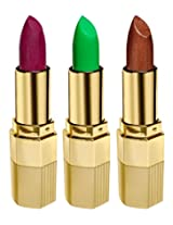 BLUE HEAVEN Combo of 3 Xpression Lipstick (MP 143 PURPLE FAIRY, GN 101 GREEN NATURAL & CB 042 SCORCHY BRONZE)