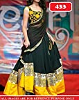 Designer Yellow & Black Semi stitched Lehngha