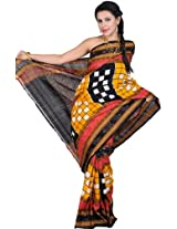 Exotic India Black and Citrus-Yellow Sambhalpuri Saree fr - black and ikat weave