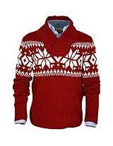 ililily Classic Fit Snowflake Pattern Knit Pullover Shawl Collar Winter Sweater (tshirts-070-2)