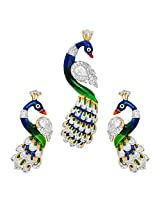 R S Jewels Gold Plated Cz Studded Multi Color Stone Enamel Pendant Set