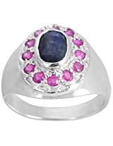 925 Sterling Silver & Natural Faceted Blue Sapphire with Ruby Gemstone Men's Ring