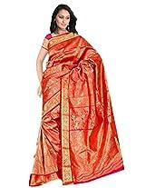 Sehgall Saree Indian Ethnic Professional Reddish Orange Handloom Silk Sarees