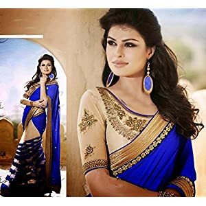 Multi Layer Royal Blue Desiger Saree