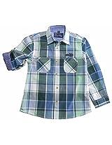 Peach Boys Long Sleeve Cotton Shirt With Green & Blue Checks