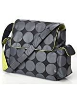 OiOi Messenger Diaper Bag - Grey Dot with Green