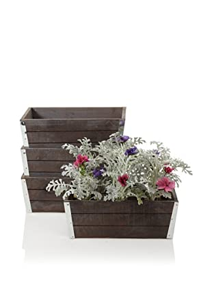 Wald Imports Set of 4 Wood Planters with Metal Trim, Gray/Brown