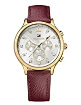 TOMMY HILFIGER Amelia Multifunction Silver Dial Brown Leather Womens Watch- TH1781614J