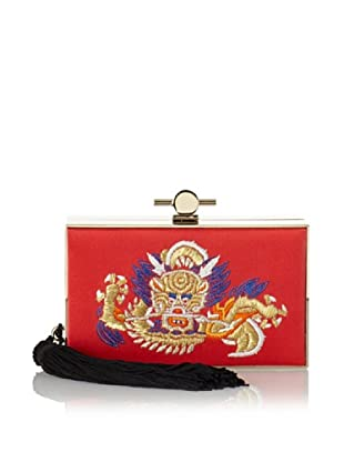 Jason Wu Women's Karlie Embroidered Satin Box Clutch, Red