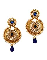Lalso Designer Gold Plated Gorgeous Blue Earrings for Wedding, Gift - LAE34BL