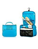 Mily Hanging Toiletry Bag, Ladies Mens Travel Storage Makeup Cosmetic Bag, Beauty Kit Wash Bag With Hook Blue
