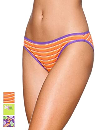 Princesa Pack x 3 Braguitas Bikini Algodón Triplets (Naranja / Morado / Rosa)