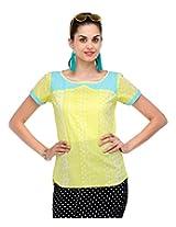 Yepme Women's Yellow & White Cotton Tops YPMTOPS0568_XL