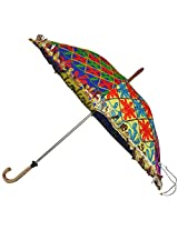 Lalhaveli Traditional Handmade Indian Embroidered Umbrella Cotton Parasol 24 X 28