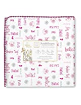 SwaddleDesigns Ultimate Receiving Blanket, Disney It's a Small World - Hello!, Very Berry (Discontinued by Manufacturer)