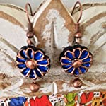 Blue and copper small floral earrings