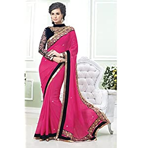 Pink and Grey Faux Georgette Half N Half Saree