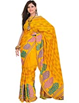 Exotic India Yellow Saree with Printed Flowers and Kantha Embroidery - Yellow
