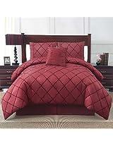 VCNY Santiago 4-Piece Comforter Set, Queen, Burgundy