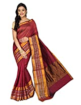Korni Cotton Silk Banarasi Saree ISL-1051- Maroon KR0465