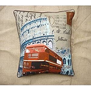 Kitschdii Cotton Canvas Red Double Decker Bus Cushion Cover