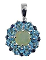 Carillon India sterling-silver Pendant For Women (Blue)